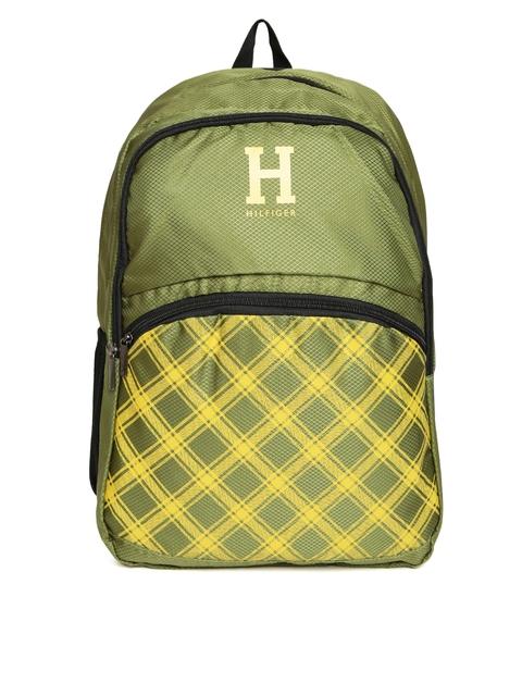 Tommy Hilfiger Unisex Olive Green Printed Backpack