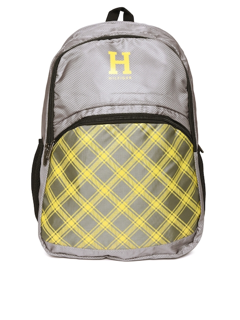 Tommy Hilfiger Unisex Grey & Yellow Printed Backpack