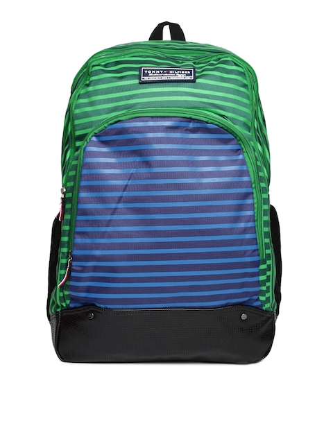 Tommy Hilfiger Unisex Green & Blue Striped OLYMPUS17 Backpack