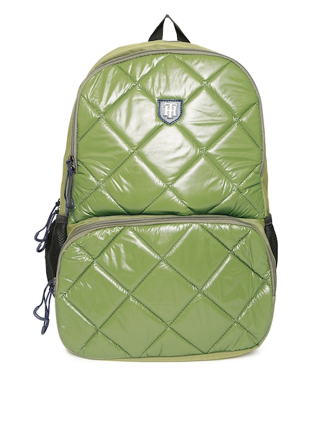 Tommy Hilfiger Unisex Olive Green Quilted Backpack