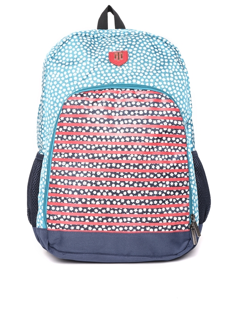 Tommy Hilfiger Unisex Blue & Red Printed Backpack