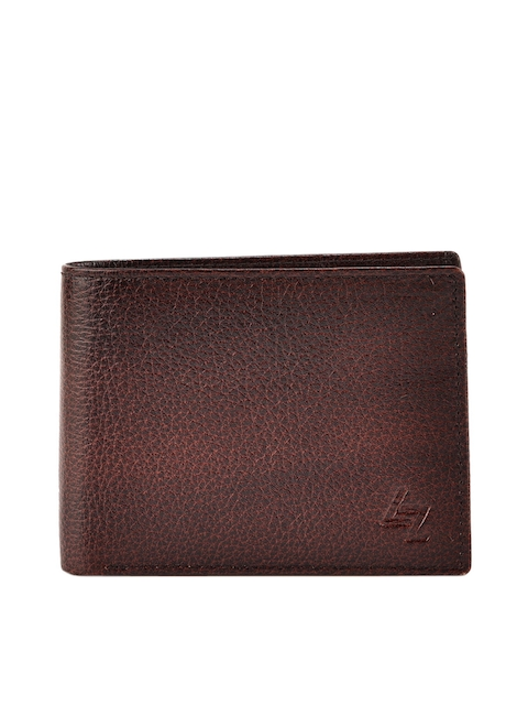 Leather Zentrum Men Maroon Textured Leather Two Fold Wallet