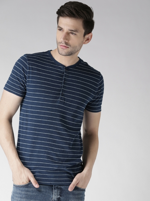 Tommy Hilfiger Men Navy Striped Henley T-shirt
