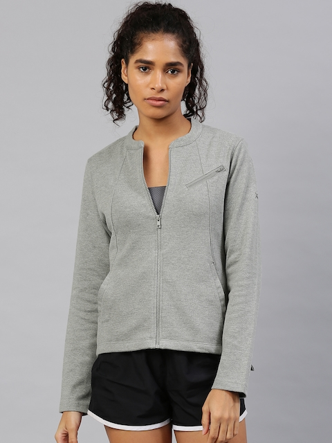 HRX by Hrithik Roshan Women Grey Melange Solid Sweatshirt