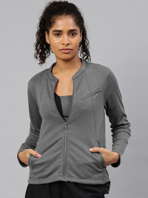 HRX by Hrithik Roshan Women Charcoal Grey Solid Sweatshirt