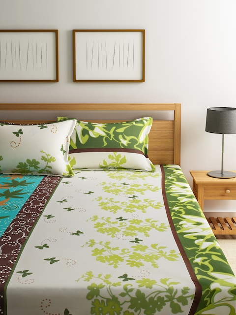 Dreamscape Off-White & Green Cotton 144 TC Double Bedsheet with 2 Pillow Covers