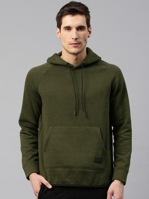 HRX by Hrithik Roshan Men Olive Green Solid Hooded Sweatshirt