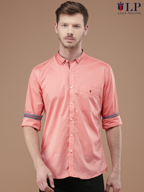Louis Philippe Men Coral Tailored Fit Solid Casual Shirt