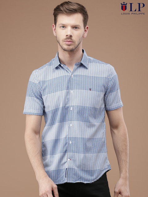 Louis Philippe Men White & Blue Slim Fit Checked Casual Shirt
