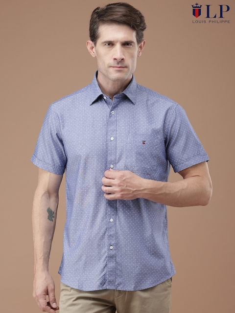 Louis Philippe Men Blue Tailored Fit Printed Casual Shirt