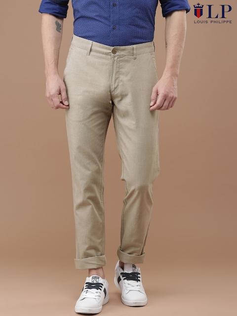 Louis Philippe Men Khaki Slim Fit Solid Trousers