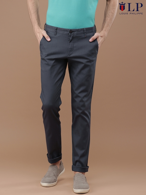 Louis Philippe Men Blue Slim Fit Self-Design Chino Trousers