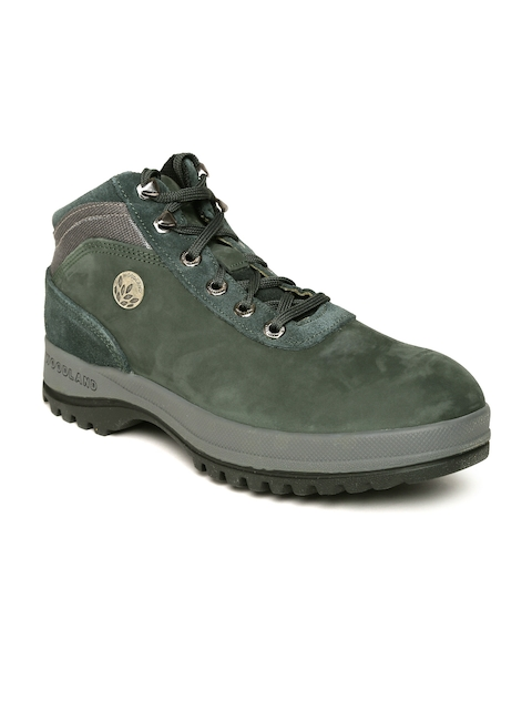 Woodland Proplanet Men Green Leather Outdoor Shoes