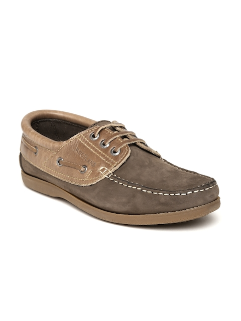 Woodland Men Brown Leather Boat Shoes  available at myntra for Rs.1897