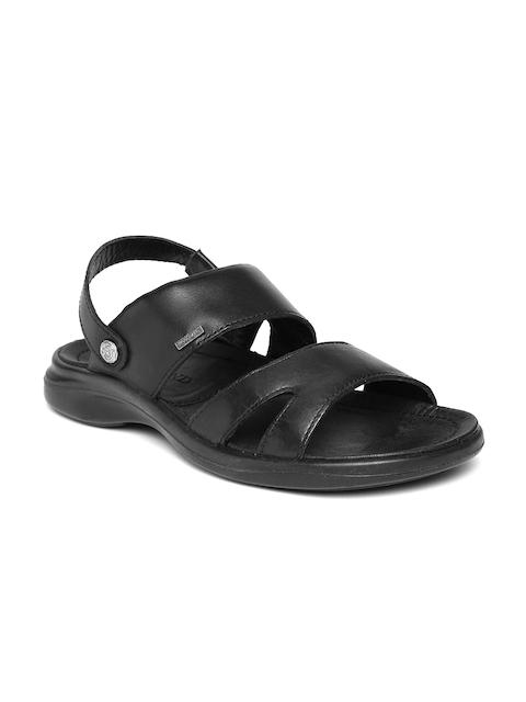Woodland Men Black Leather Sandals