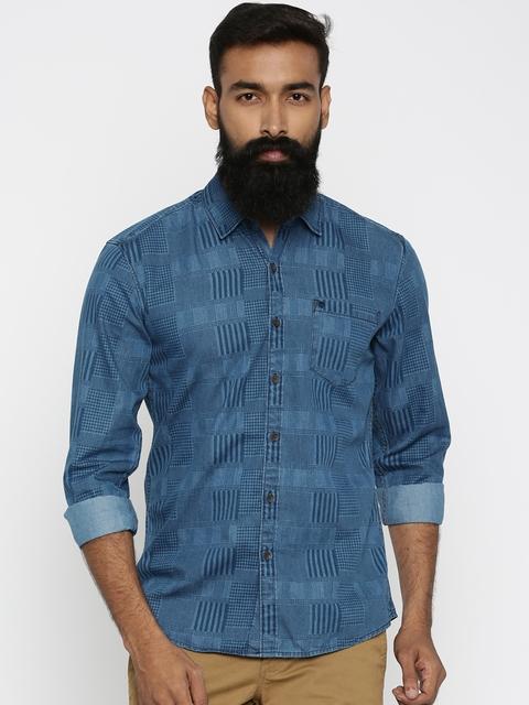 Wrangler Men Blue Slim Fit Printed Casual Shirt