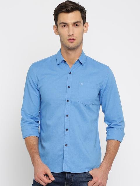 Wrangler Men Blue Solid Slim Fit Casual Shirt