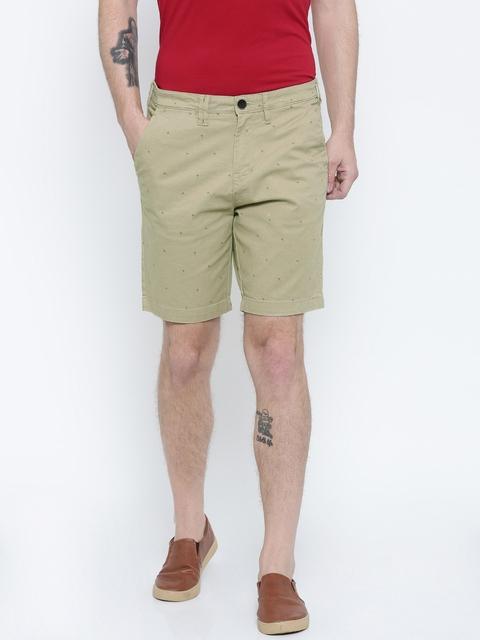 Wrangler Men Beige Printed Chino Shorts