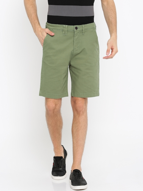 Wrangler Men Olive Green Solid Chino Shorts