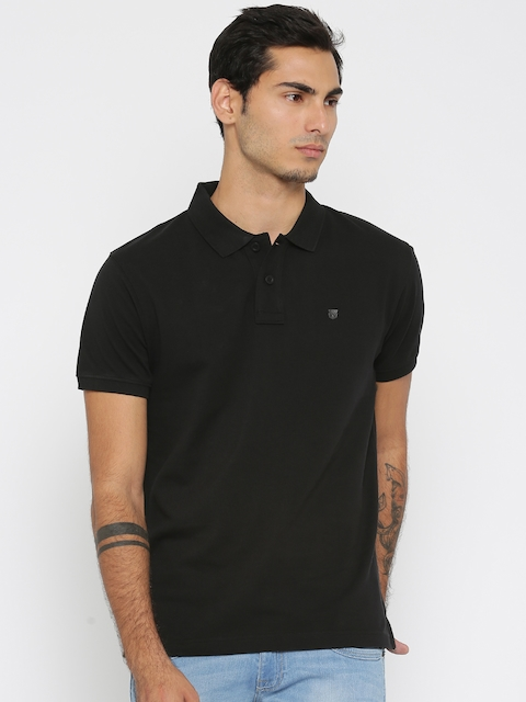 Wrangler Men Black Solid Polo T-shirt