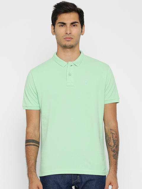 Wrangler Men Green Solid Polo Collar T-shirt  available at myntra for Rs.976