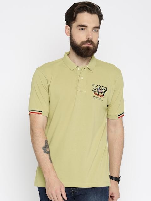 Wrangler Men Beige Solid Polo T-shirt
