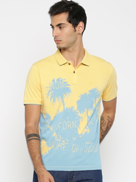 Wrangler Men Yellow Printed Polo Collar T-shirt  available at myntra for Rs.638