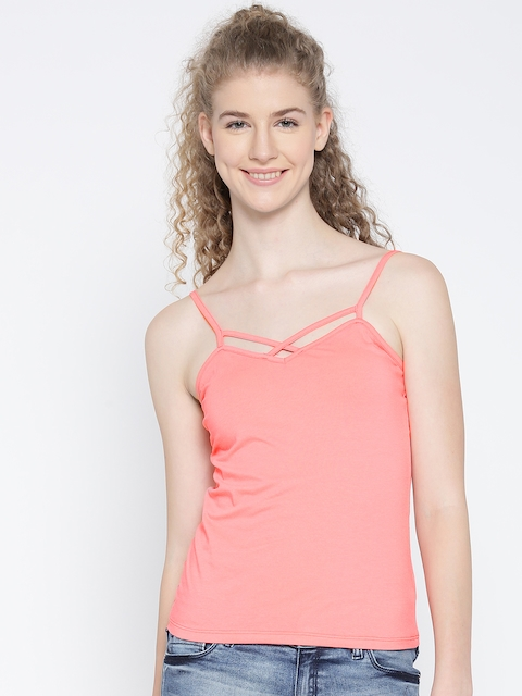 Madame Women Coral Pink Fitted Top