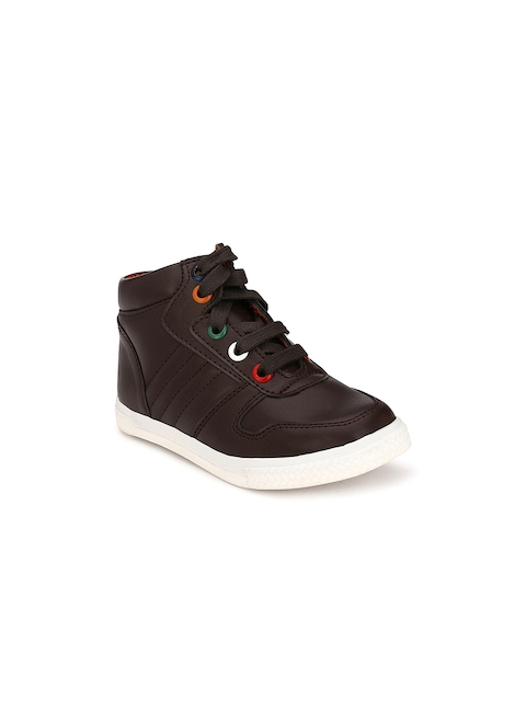 TUSKEY Boys Brown Solid Mid-Top Flat Boots