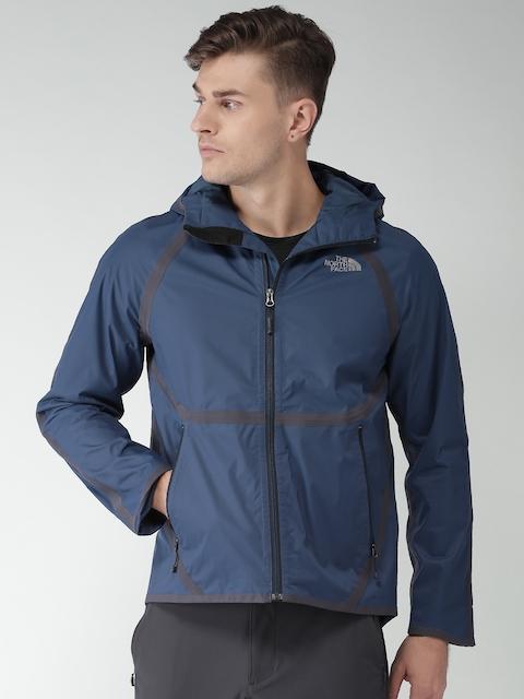 The North Face Men Blue Solid Rain Jacket