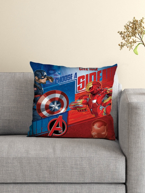 Athom Trendz Avengers Kids Blue & Red Single Printed 16 x 16 Square Cushion with Cover