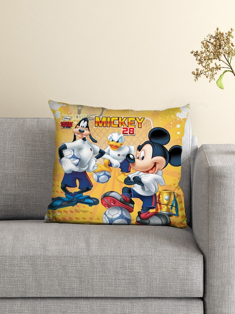 Athom Trendz Kids Yellow Mickey Mouse Single 16 x 16 Square Cushion with Cover