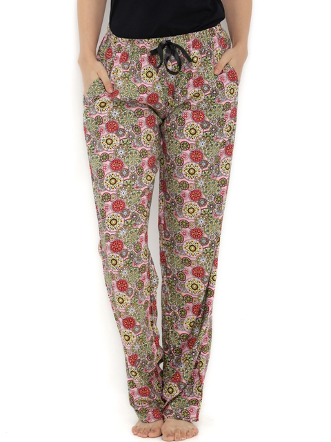 Heart 2 Heart Pink & Green Printed Lounge Pants LP69ORBITP