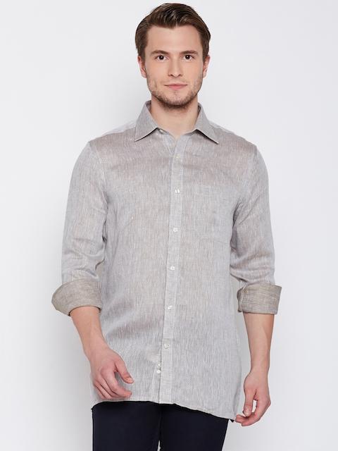 Raymond Men Beige Contemporary Fit Self-Design Casual Shirt