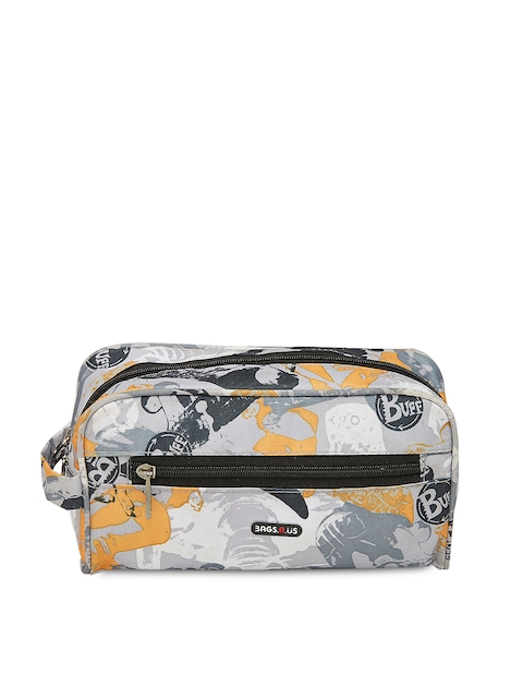 Bags.R.us Unisex Black & Grey Printed Travel Pouch