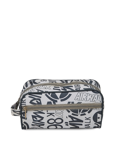 Bags.R.us Unisex Grey & Black Printed Travel Pouch