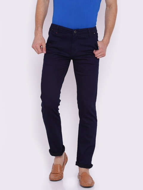 Raymond Men Navy Blue Regular Fit Solid Trousers