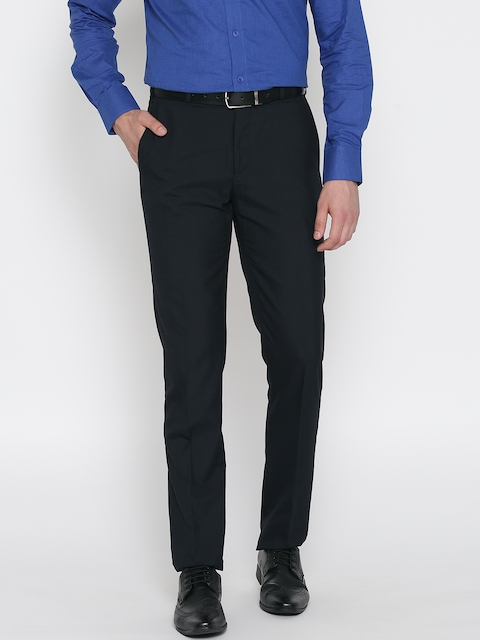 Raymond Men Navy Contemporary Fit Solid Formal Trousers