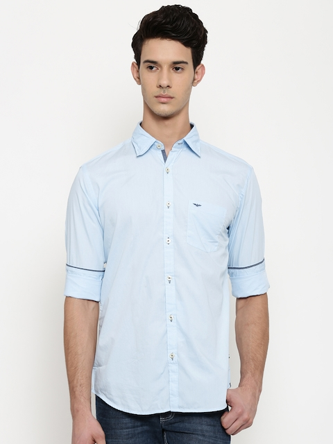 Park Avenue Men Blue Regular Fit Solid Casual Shirt