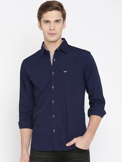 Park Avenue Men Navy Slim Fit Solid Casual Shirt