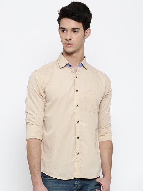 Park Avenue Men Beige Slim Fit Solid Casual Shirt