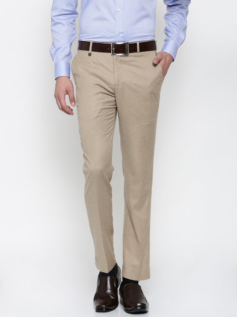 Park Avenue Men Beige Neo Tapered Fit Solid Formal Trousers