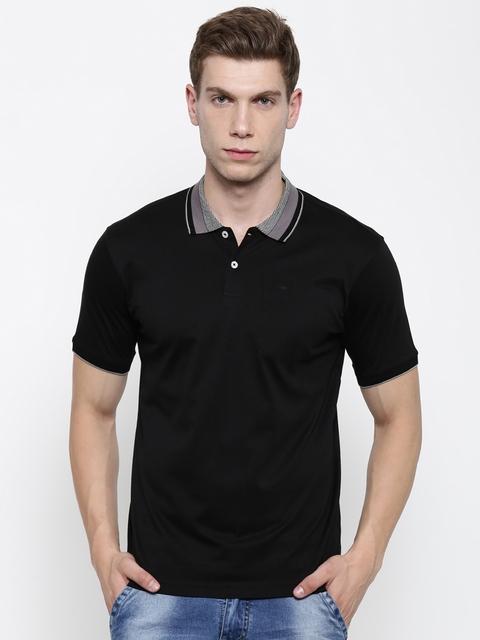 Park Avenue Men Black Solid Slim Fit Polo T-shirt