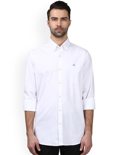 Raymond Men White Premium Fit Solid Casual Shirt
