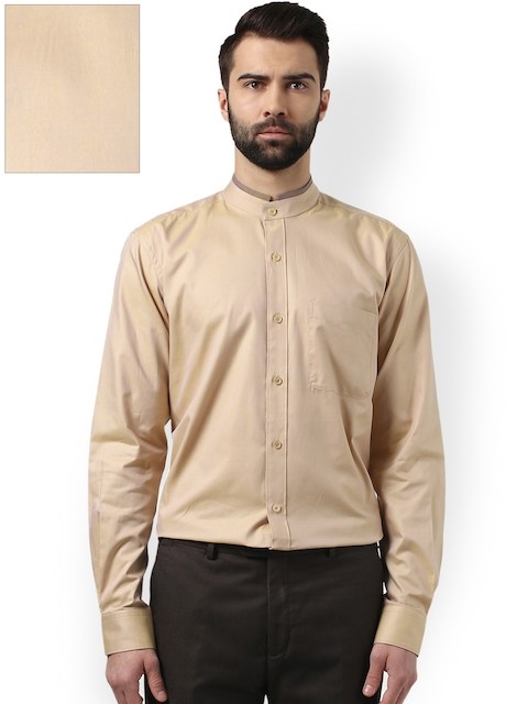 Raymond Men Beige Contemporary Premium Fit Solid Formal Shirt