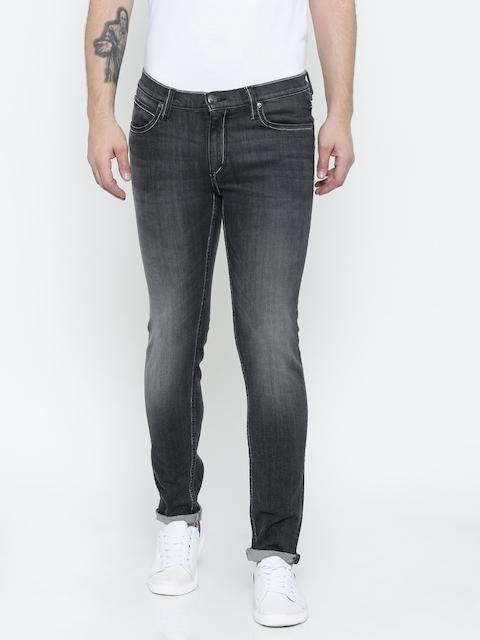 Lee Men Black Bruce Skinny Fit Low-Rise Jeans