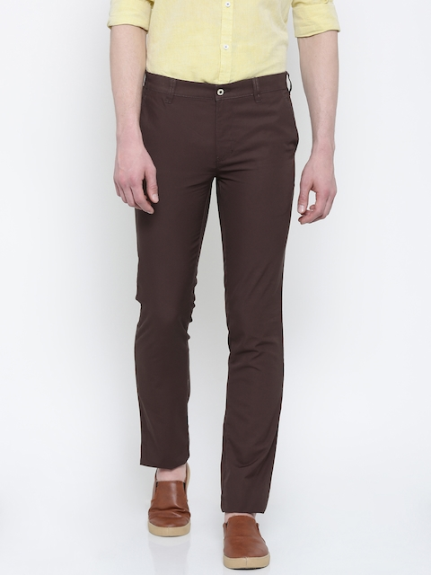 Park Avenue Men Brown Tapered Fit Solid Chinos