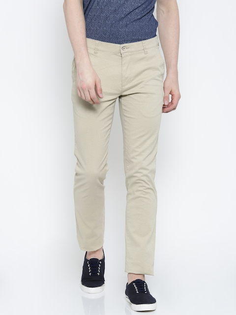 Park Avenue Men Beige Tapered Fit Printed Chinos