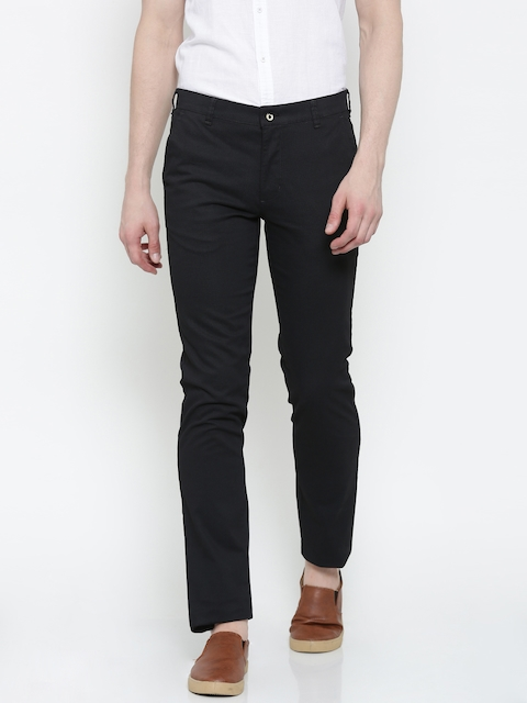 Park Avenue Men Black Printed Tapered Fit Solid Chino Trousers