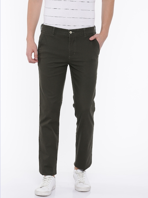 Park Avenue Men Green Tapered Fit Self-Design Chinos